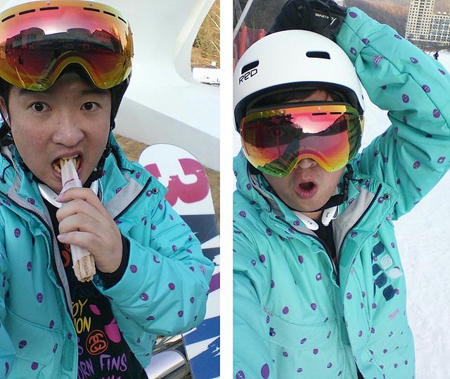 장원준씨가 민트색 스키복 위에 화이트 색상의 LG TONE+를 착용한 모습이다. 츄러스를 먹으며 찍은 사진과 고글을 쓰고 찍은 사진이 보인다.