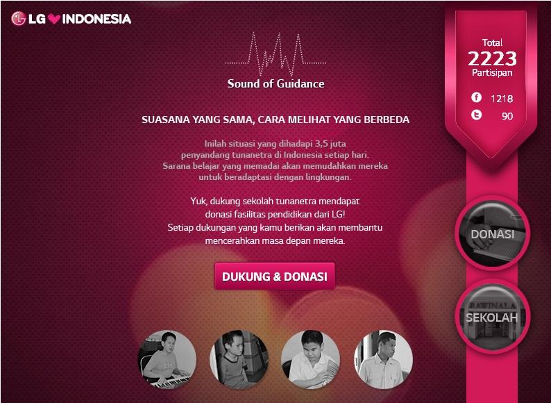 앱을 통해 2,223명이 기부에 참여한 LG Sound of Guidance 결과를 보여주고 있다.