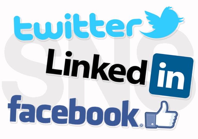 SNS채널인 트위터와 페이스북 링크드인의 로고 이미지 이다