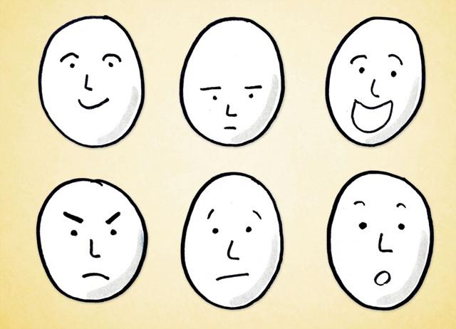 수많이 표정이 있지만 기쁨, 우울, 환호, 화남, 당황, 놀람의 6가지 정도가 있다