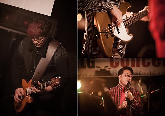왼쪽 사진은 엘지밴드의 남성이 기타를 메고 연주를 하고 있는 모습이며 오른쪽 상단은 연주되고 있는 기타 클로즈업 사진, 그 아래쪽은 열창하고 있는 남성의 사진이다.