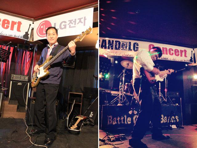 왼쪽 사진은 남성 밴드 멤버가 기타를 메고 카메라를 향해 포즈를 취하고 있는 사진이며, 오른쪽은 남성멤버가 기타를 열정적으로 연주하고 있는 모습이다.