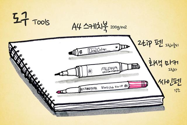 비주얼씽킹 도구는 A4스케치북과 펜, 회색마커, 사인펜 등이다