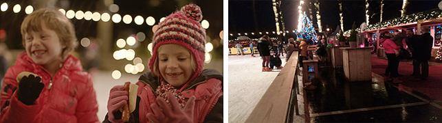 크리스마스로 인해 즐거워진 아역배우들이 광고 촬영 중에도 즐겁게 웃고 있다.