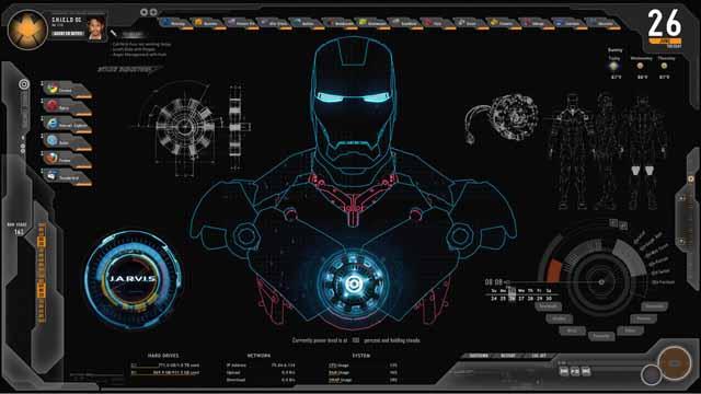 아이언맨에 자비스의 인터페이스로 화면의 로봇 모양의 모델이 나온다.
