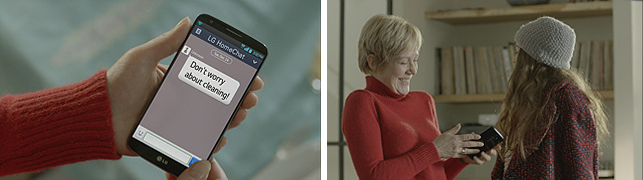 LG 홈챗을 통해 전자기기와 대화하는 모습/ 즐거워 하는 사용자의 모습이 보인다.