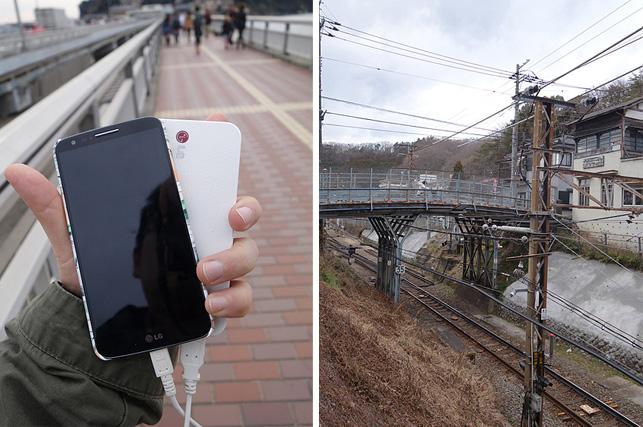 왼쪽 사진은 G2의 외관 모습을 담고 있고 오른쪽은 일본의 허름한 마을의 모습을 보여주고 있다.