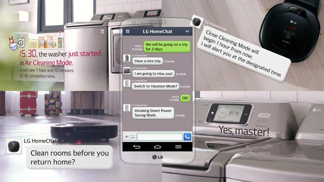 가전 제품들과 모바일 메신저를 통해 소통하는 기술, 홈챗에 대한 설명이 나와있다.