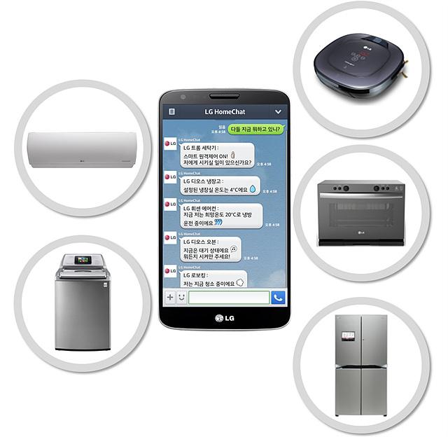 휴대폰으로 홈챗을 켜놓은 모습으로 그 주위에 에어컨, 로보킹, 냉장고 등의 사진이 있다.