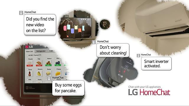 가전제품을 일상 언어로 사용자와 대화할 수 있도록 한 LG 홈챗의 설명이 보인다.