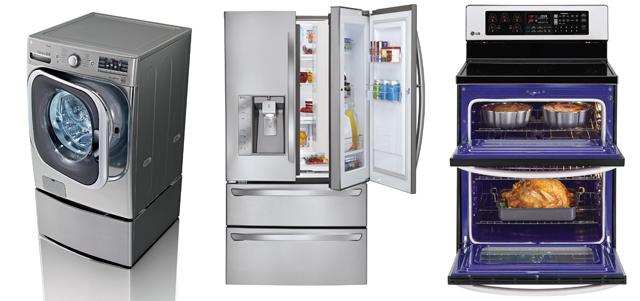 친환경 설계 및 지속 가능 기술 부문에서 CES 혁신상을 수상한 대용량 드럼세탁기와 고효율/친환경 프렌치도어 냉장고, 예열(豫熱) 과정을 최소화해 조리시간을 20% 단축시켜주는 전기오븐레인지 제품사진