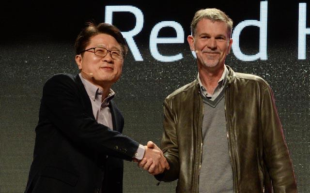 CTO안승권 사장의 발표 중 '넷플릭스(Netflix)'의 CEO 리드 헤이스팅스(Reed Hastings)가 깜짝 등장해 눈길을 끌었다.