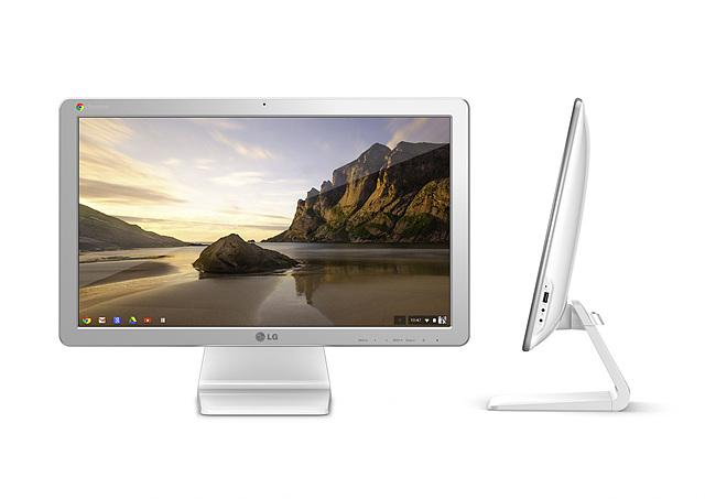 LG전자 올인원 PC의 앞면과 측면의 모습으로 화면에는 자연 풍경의 모습이 보인다.