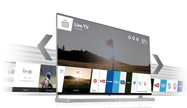 웹 OS기반의 TV로 화면에는 다양한 카테고리가 있으며 화면 배경에는 들판 위에 풍선을 들고 있는 사람의 모습이 보인다.