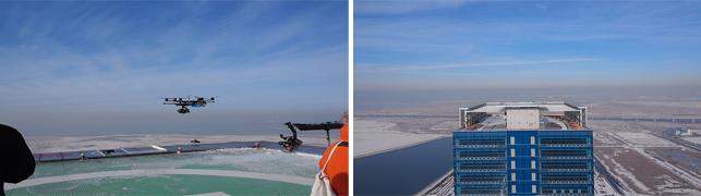 로보킹의 모습을 하늘에서 촬영하고 있는 모습이다.
