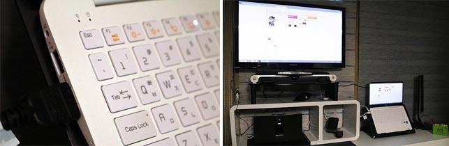모니터와 TV 호환을 하는 모습으로 모니터와 TV가 연결되어 있다.