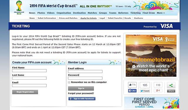2014 피파 월드컵 브라질로가는 티켓팅 페이지의 모습이다