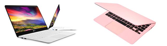 좌측에는 활짝 오픈되어있는 화이트 색상의 그램이 있고, 우측에는 반쯤 오픈 된 핑크 색상의 그램이 있다.