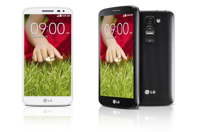 'LG G2 미니' 제품 사진(좌측은 루나 화이트, 우측은 타이탄 블랙)