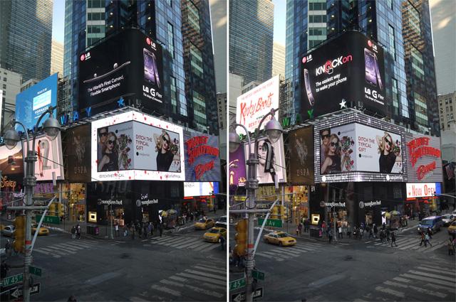 LG전자가 뉴욕 타임스 스퀘어에 있는 LG전자 전광판을 통해 커브드 스마트폰 'G 플렉스' 를 소개하고 있다.