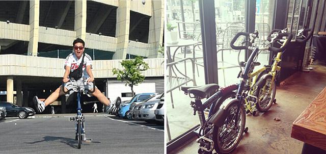 김성철 연구원이 자전거를 타고 다리를 올리고 있다. (좌), 자전거의 모습(우)