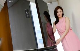 모델이 'LG 디오스 V9500' 냉장고 신제품을 소개하고 있습니다.