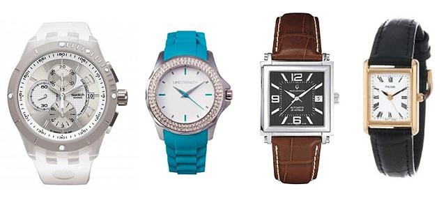 화이트, 블루, 베이지 컬러의 다양한 디자인 손목 시계 모습이다