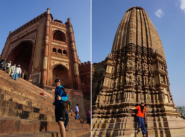 승리의 문과 카마수트라 사원 앞에서 기념 사진을 촬영한 모습