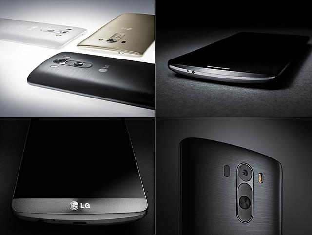 LG G3의 전면부 후면부, 후면 카메라 등의 모습이다
