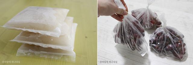 일회용 팩과 비닐을 이용해 간단히 음식물을 정리하는 모습
