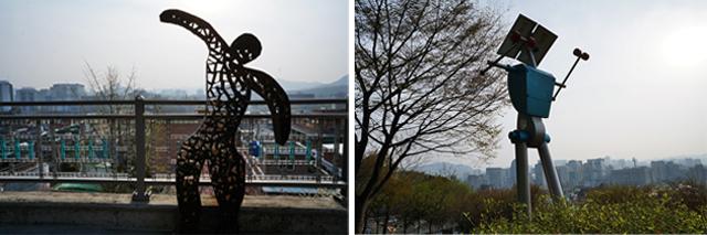 사람의 모습을 닮은 낙산공원의 철제 조각상들