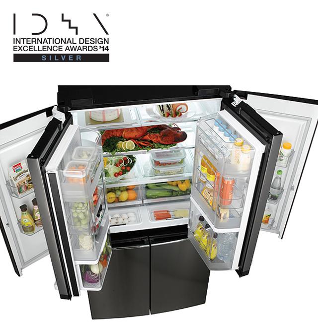 은상을 수상한 더블 매직스페이스 냉장고 V9500 제품의 모습