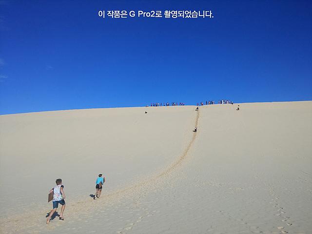 높은 모래언덕을 사람들이 보드를 이용해 미끄러져 내려오고 있다.