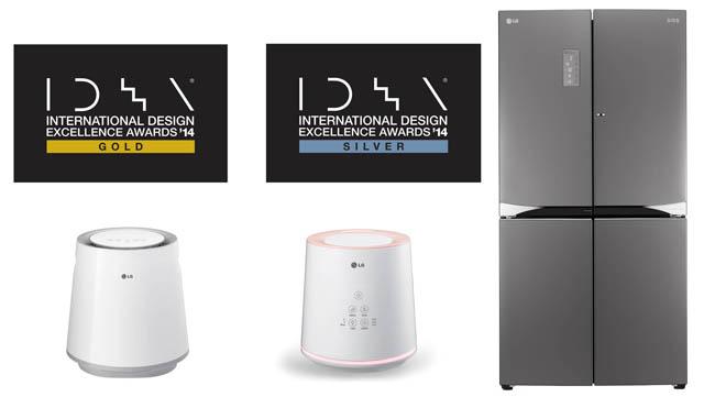 IDEA'에서 수상한 금상 에어워셔, 은상 살균스티머, 은상 더블 매직스페이스 냉장고 제품 이미지 입니다.