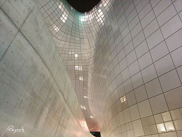 우주선 모양의 동대문 디자인 플라자(DDP)의 야경. 곡면의 건물이 인상적이다.