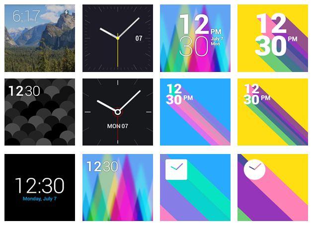 LG 워치의 다양한 시계 이미지. 디지털 시계부터 아날로그 시계까지 다양한 디자인으로 적용이 가능하다.