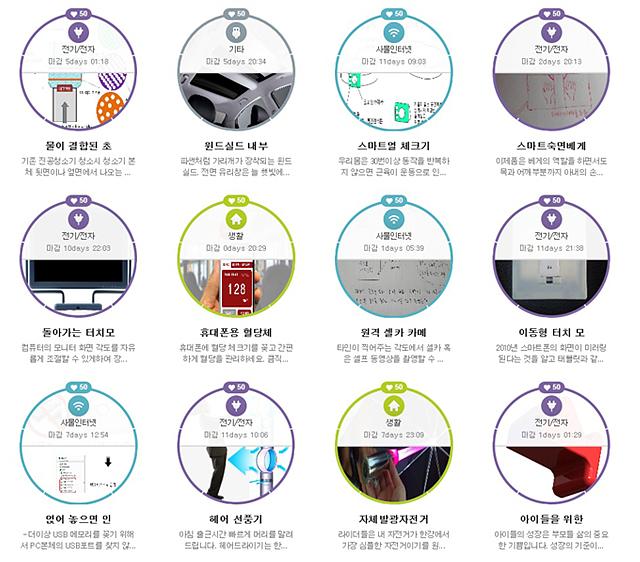 물이 결합된 초, 스마트업 체크기 등 아이디어 LG에 등록된 다양한 고객들의 아이디어.