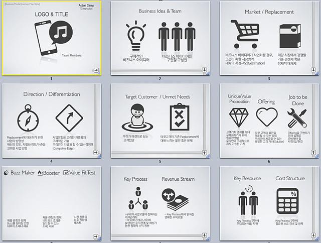 픽토그램을 사용한 사업계획서 슬라이드  9장