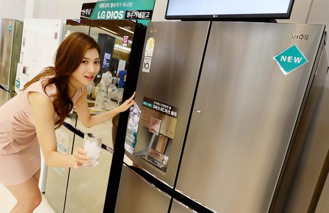 모델이 '디오스 얼음 정수기냉장고' 제품을 소개하고 있는 모습입니다.