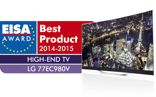 LG전자 '77형 곡면 울트라HD 올레드 TV' 제품 사진과 EISA어워드 로고 입니다.