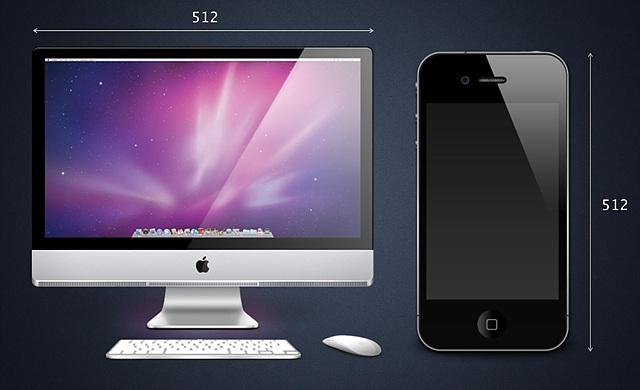 512x512 픽셀의 고해상도 아이콘. 맥 모니터와 아이폰의 모습