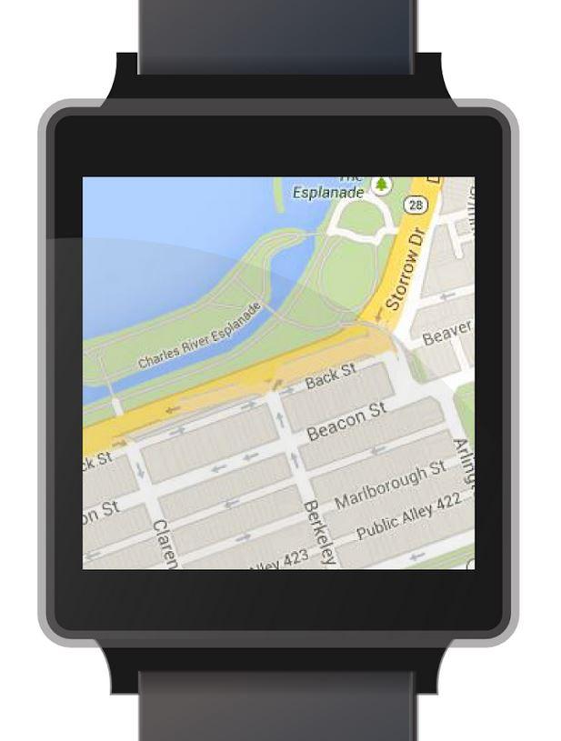 'Mini Maps for Wear' 앱 화면. 지도가 보인다.
