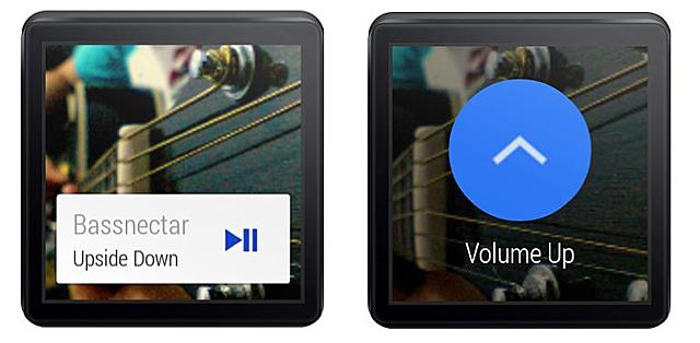 'Wear Music Controller' 앱 화면. 스마트폰에 있는 음악을 실행하고 있다(왼쪽) 음악의 볼륨을 올리고 있다(오른쪽)