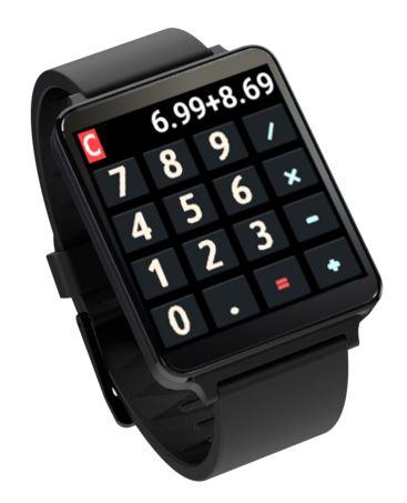 'Android Wear Calculator' 앱 화면. 계산을 위한 숫자 및 연산 기호들이 보인다.