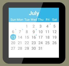 '캘린더 for Android Wear' 앱 화면. 7월 한달 스케줄이 보인다.
