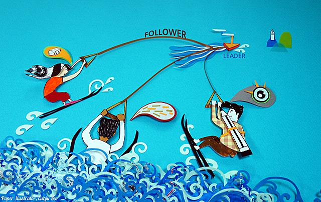 리더는 배로, 팔로워는 수상 스키어로 상징적으로 나타낸 일러스트.