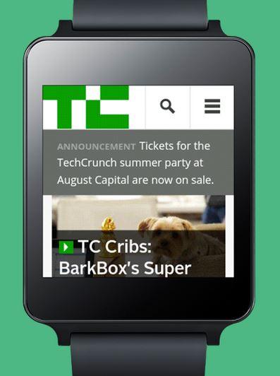 'Wear Internet Browser' 앱 화면. TechCrunch 여름 파티를 위한 티켓이 현재 세일 중이라는 문구가 보인다.