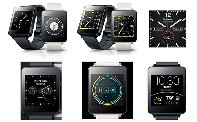 다양한 watch face 디자인. 왼쪽부터 일반 시계와 같은 클래식한 디자인, 노란 불빛이 눈에 띄는 전자 시계 디자인,  시간과 온도를 숫자로 한 눈에 보기 쉽게 표기한 디자인