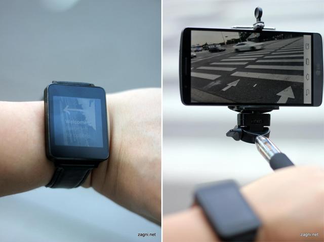 셀카 촬영 중인 화면이 G워치와(왼쪽) G3(오른쪽)를 통해 보인다.