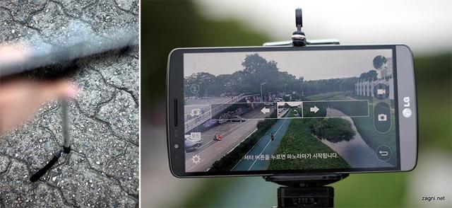 셀카봉을 바닥에 세우는 모습(왼쪽) G3와 셀카봉으로 파노라마 사진을 촬영하고 있다.(오른쪽)